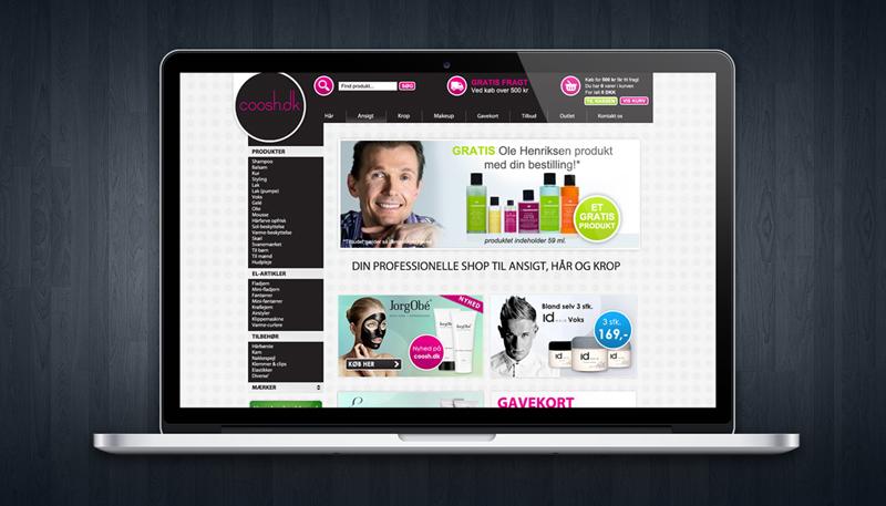coosh cosmetik webshop hjemmeside design